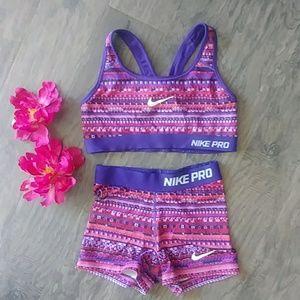 Nike Pro workout spandex shorts and sporta bra